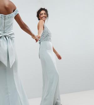 Maya Tall Платье макси с лифом пайетками и без рукавов, вырезами на спине ба. Цвет: синий