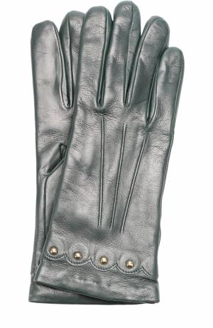 Кожаные перчатки с металлической отделкой Sermoneta Gloves. Цвет: темно-зеленый