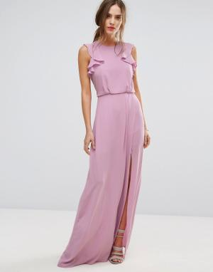 BCBG MaxAzria Сиреневое платье макси с оборками BCBGMAXAZRIA. Цвет: розовый