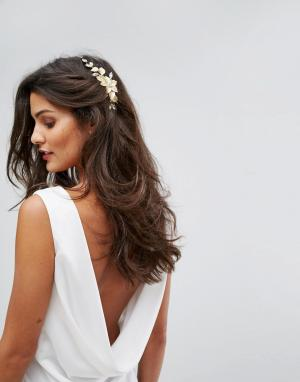 Her Curious Nature Заколка для волос с цветком и листьями. Цвет: золотой