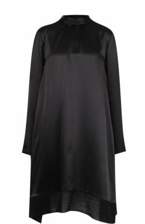 Шелковое мини-платье свободного кроя Ann Demeulemeester. Цвет: черный