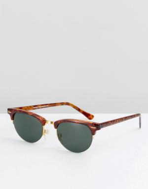 Reclaimed Vintage Черепаховые солнцезащитные очки в стиле ретро. Цвет: коричневый