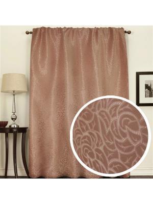 Портьера жаккардовая Розы 145*270 см  коричневый Amore Mio. Цвет: коричневый