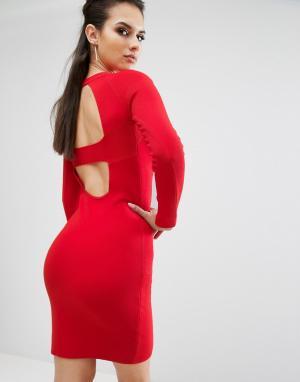 Kendall + Kylie Платье с длинными рукавами и вырезами на спине. Цвет: красный