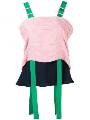Блузка колор блок Marco De Vincenzo. Цвет: розовый и фиолетовый