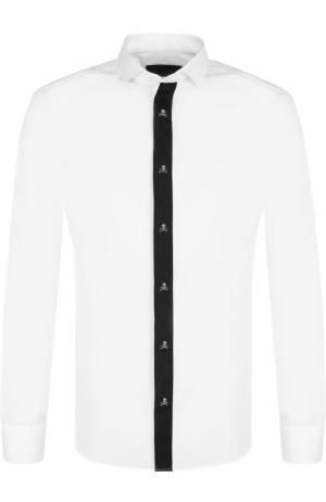 Хлопковая рубашка с контрастной отделкой Philipp Plein. Цвет: белый