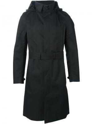 Пальто с поясом и капюшоном Norwegian Rain. Цвет: чёрный