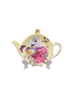 Подставка под чайный пакетик Анютины глазки Elan Gallery. Цвет: бежевый, розовый, белый