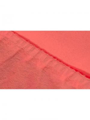 Простыня на резинке махровая 160х200 ECOTEX. Цвет: коралловый