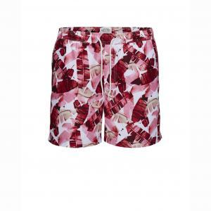 Шорты пляжные с рисунком перья JACK & JONES. Цвет: наб. рисунок/ розовый,рисунок/зеленый