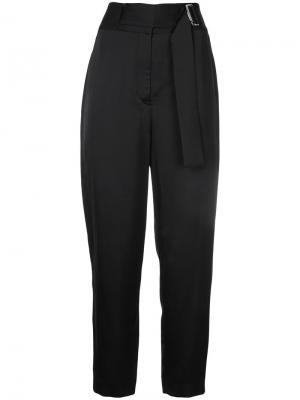 Укороченные брюки с завышенной талией и поясом Cyclas. Цвет: чёрный