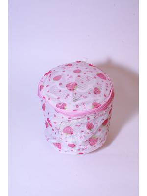 Мешок для стирки нижнего белья, пластик, полиэстер, 15х15х16см, клубника KONONO. Цвет: розовый, белый