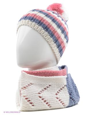 Шапка+шарф Marhatter. Цвет: белый, серо-голубой