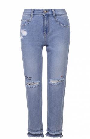 Укороченные джинсы с бахромой и потертостями Steve J & Yoni P. Цвет: голубой