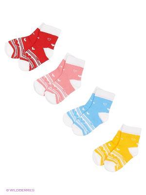Носки, 4 пары Гамма. Цвет: белый, голубой, желтый, красный