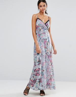 Uttam Boutique Платье макси на бретельках с вырезами и цветочным принтом Boutiq. Цвет: синий