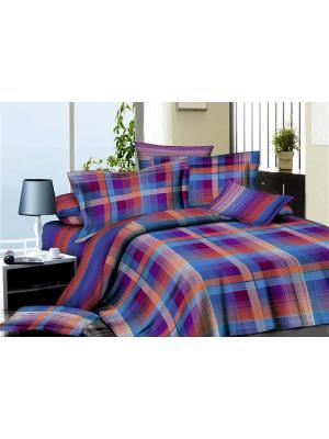 Комплект постельного белья  Евро ДомВелл сатин СН04 Клетка. Цвет: синий