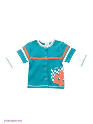 Кофточка Lucky Child. Цвет: голубой, белый, оранжевый