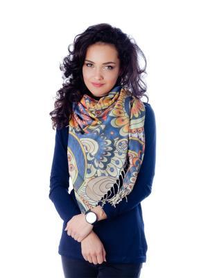 Платок Летний вихрь Le Motif Couture. Цвет: синий, желтый, светло-коричневый
