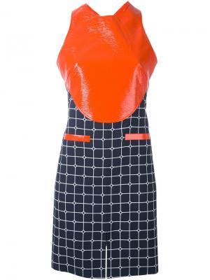 Платье с контрастной панелью и узором в клетку Courrèges. Цвет: красный