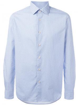 Рубашка с геометрическим рисунком Xacus. Цвет: синий