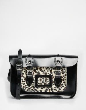 Leather Satchel Company Сумка сатчел с леопардовым карманом. Цвет: черный