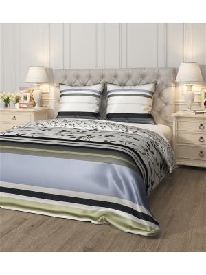 Комплект постельного белья Делин, семейный Сирень. Цвет: синий, зеленый, белый, черный