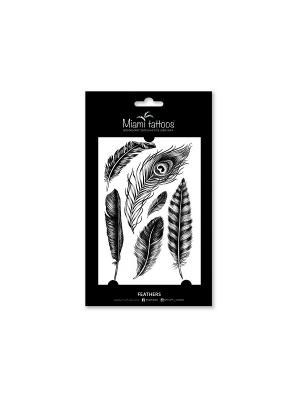 Переводные тату Feathers Miami Tattoos. Цвет: черный
