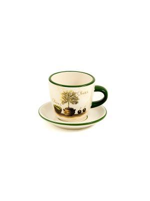 Чайная пара Олива Русские подарки. Цвет: бежевый, зеленый