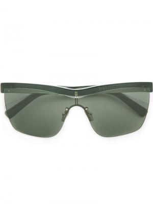 Солнцезащитные очки в прозрачной оправе Dion Lee. Цвет: зелёный