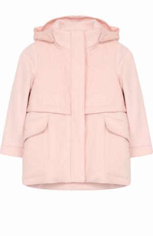 Пальто из хлопка и кашемира с капюшоном Loro Piana. Цвет: розовый