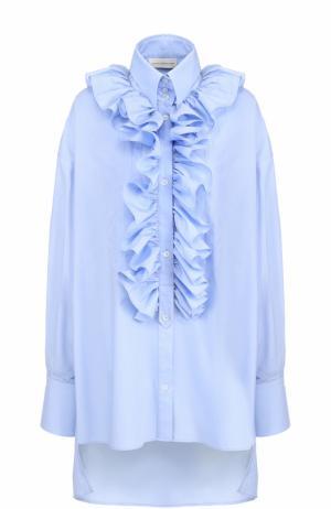 Хлопковая блуза свободного кроя с оборками Faith Connexion. Цвет: голубой