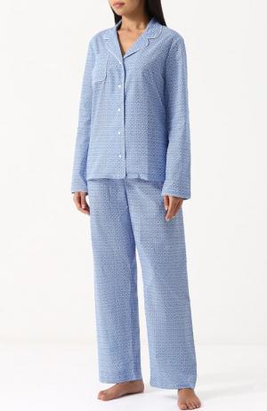 Хлопковая пижама с контрастным принтом Derek Rose. Цвет: голубой
