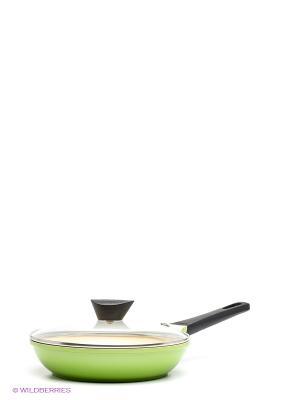 Сковорода со стеклянной крышкой Frybest. Цвет: светло-зеленый, светло-бежевый
