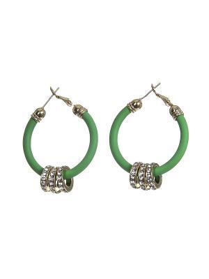 Серьги Happy Garnets. Цвет: зеленый, золотистый, белый