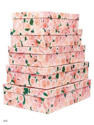 Набор из 5 картонных коробок Нежные розы VELD-CO. Цвет: розовый