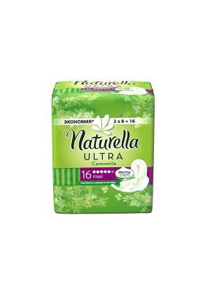 Гигиенические прокладки с крылышками, ароматизированные, Camomile Maxi Duo, 16шт. NATURELLA. Цвет: салатовый