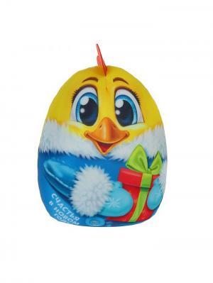 Игрушка-антистресс Счастья в Новом году цыпленок с подарком, 30см А М Дизайн. Цвет: темно-синий, синий, темно-фиолетовый, салатовый, голубой, светло-голубой, бронзовый, красный, оранжевый, желтый, белый