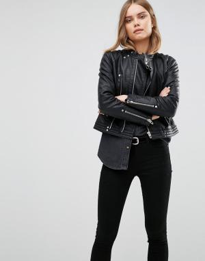 BLANK NYC Байкерская куртка из искусственной кожи. Цвет: черный