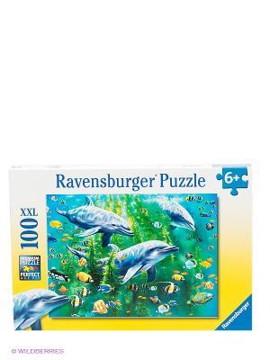 Пазл Три дельфина XXL, 100 элементов Ravensburger. Цвет: желтый, белый, синий, зеленый, голубой