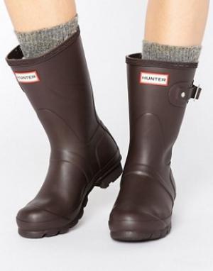 Hunter Короткие резиновые сапоги Original. Цвет: коричневый