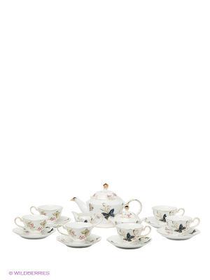 Чайный сервиз на 6 персон Райский сад Pavone. Цвет: белый, розовый, синий