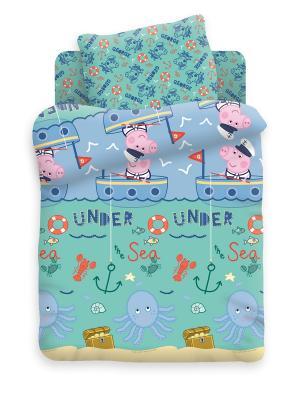 Комплект постельного белья Детский хлопок Джордж рыбак Свинка Пеппа. Цвет: серо-голубой, оливковый, светло-голубой