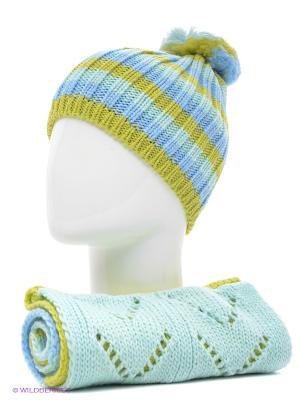 Шапка+шарф Marhatter. Цвет: салатовый, голубой