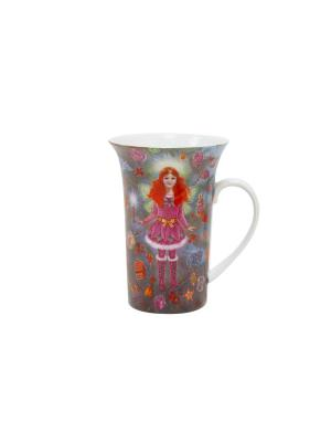Кружка Рождественская - Фея 330 мл Elff Ceramics. Цвет: серый, красный, белый