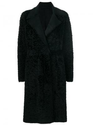 Свободное двустороннее пальто с поясом Salvatore Santoro. Цвет: чёрный