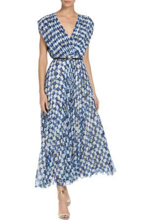 Полуприлегающее платье с поясом Max Mara. Цвет: белый, синий