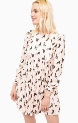 Розовое платье с ярусной юбкой Paul & Joe Sister. Цвет: розовый