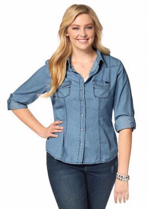 Джинсовая рубашка Arizona. Цвет: варенка, потертый
