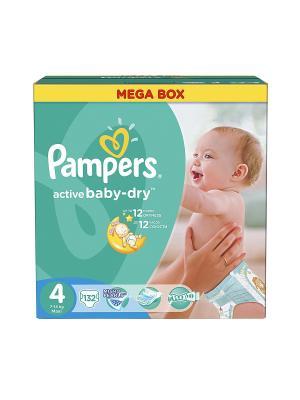 Подгузники Active Baby-Dry 8-14 кг, 4 размер, 132 шт. Pampers. Цвет: зеленый